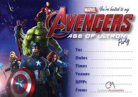 Avengers Age Of Ultron Marvel Party Invitations Kids Childrens Invites Birthday Ebay Marvel Invitation Template Free