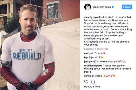 photo taken by partnerstrust on instagram pinned via the ryan reynolds urges fans to support hurricane victims