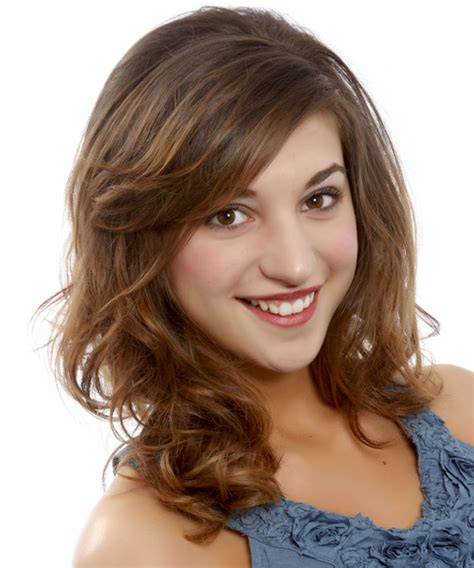 brunette hairstyles wiyh swept away bangs medium wavy casual hairstyle with side swept bangs
