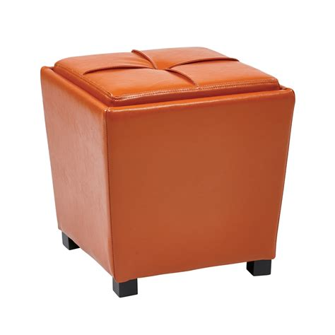 2 Piece Orange Vinyl Ottoman Set Orange Ottomans