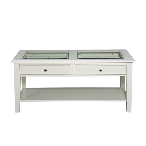 Southern Enterprises Panorama Glass Top Coffee Table In White Glass Coffee Tables