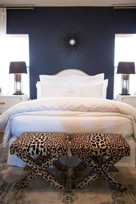 white  navy blue bedroom features  accent wall