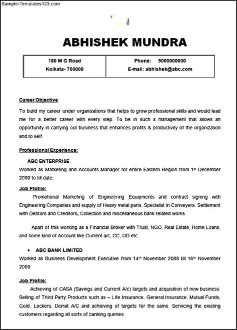 format marketing accounts manager resume template sle templates
