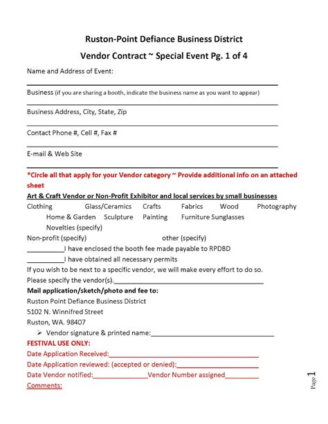 vendor contract template ruston family fair vendor contract