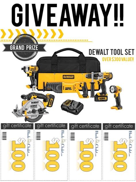 Dewalt Tool Giveaway - blinds chalet monthly giveaways and contests