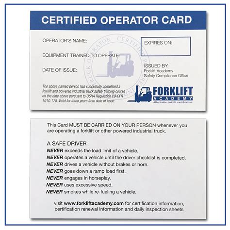 forklift operator certification card template new photograph of forklift certification card business