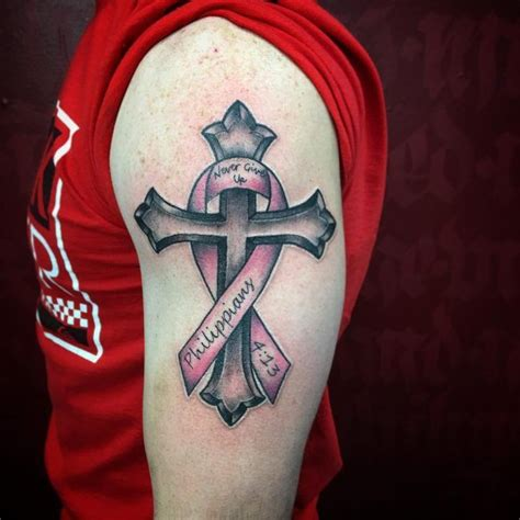 cross with ribbon tattoo cancer ribbon s cancer