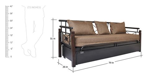 sofa cum bed dimensions buy leisure metallic sofa cum bed with storage by