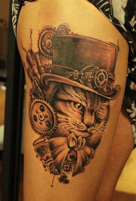 cat tattoo on thigh 20 innovative steunk tattoo designs golfian com