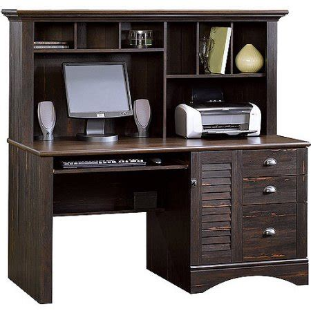 Walmart Desks Computer Sauder Harbor View Computer Desk With Hutch Antiqued Paint Walmart