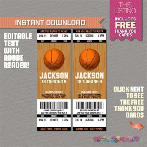 Basketball Ticket Invitation With Free Thank You Card Basketball Ticket Template Free