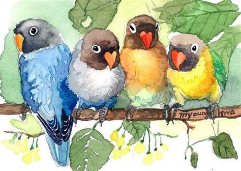 art print 5 x 7 our happy hours in watercolor birds