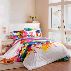colorful comforter colorful floral reactive satin stripe print 4pcs set