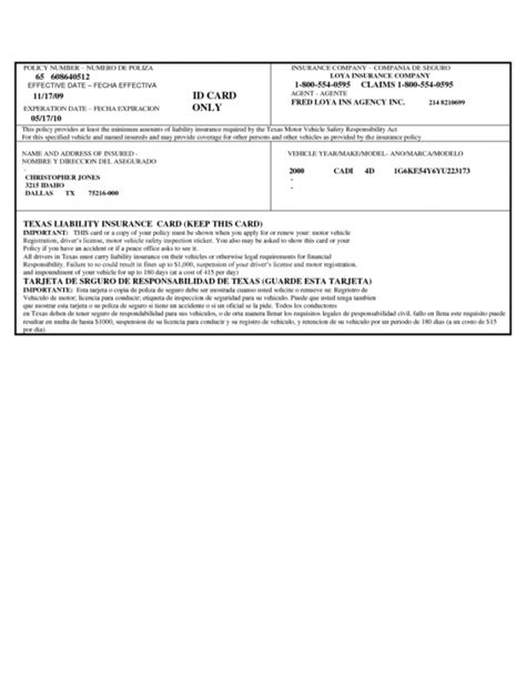 texas liability insurance card