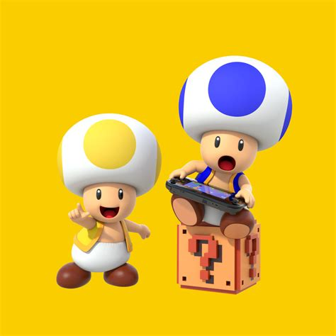 blue yellow toad from mario blue toad and yellow toad