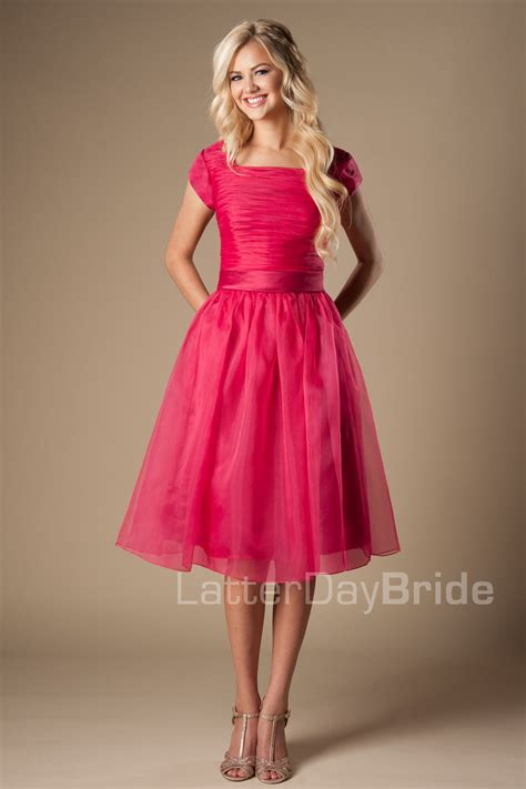 day bride modest prom dress pink knee length