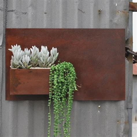 Rusted Steel Planters by Steel Wall Pocket Planter Succulent
