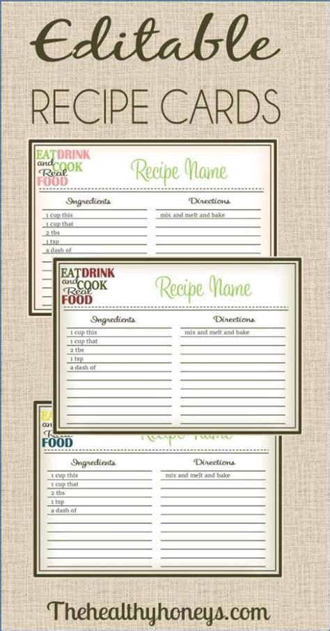 printable editable card template real food recipe cards diy editable cards diy real