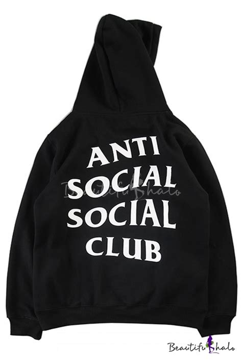 Tshirtkaos Anti Social Social Club new hooded anti social social club letter printed hoodie sweatshirt with one pocket