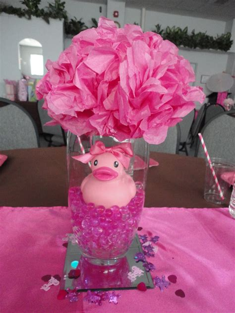 baby shower table centerpieces water gems ordered from ebay vases and mirrors from dollar store and ducks found at walmart for