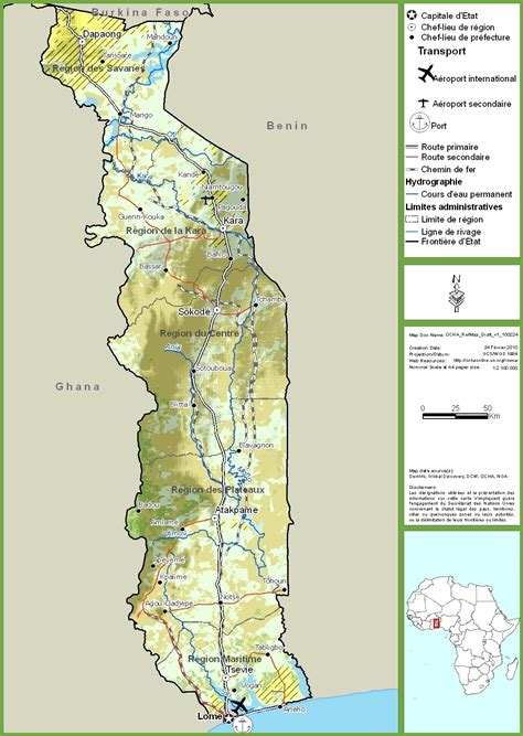 togo on a map togo road map