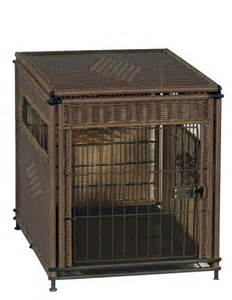 Decorative pet residence dark brown designer wicker dog bed crate cage