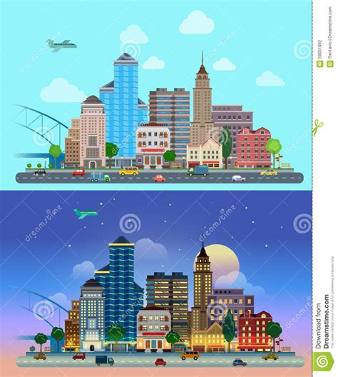 day couch city night line flat vector city day and night road street skyscrapers