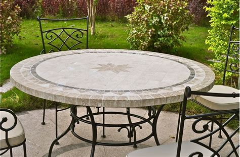 "49 63"" Round Outdoor Patio Table Stone Marble Mosaic MEXICO"