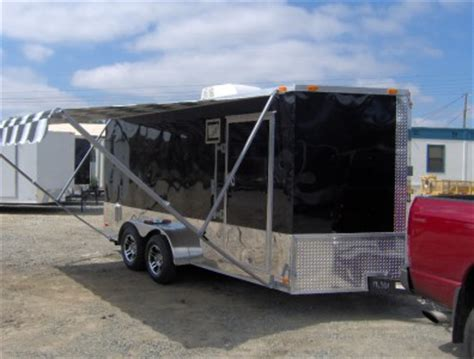 awning for enclosed trailer 7x16 enclosed motorcycle cargo trailer a c unit w awning