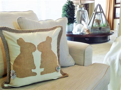 no sew burlap bunny pillow be guest with