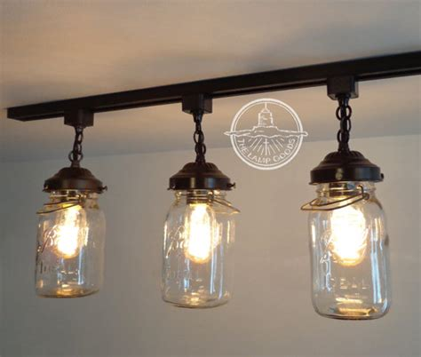 Flush Mount Ceiling Light Mason Jar Track Lighting Fixture Jars Light Fixture