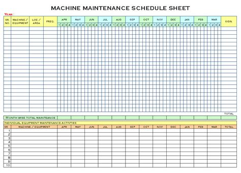 equipment maintenance schedule template excel schedule