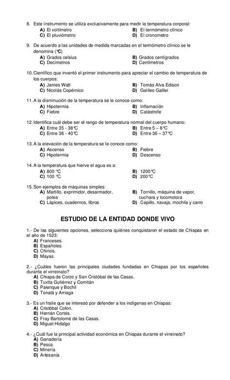 Examen de tercer grado bimestre iii