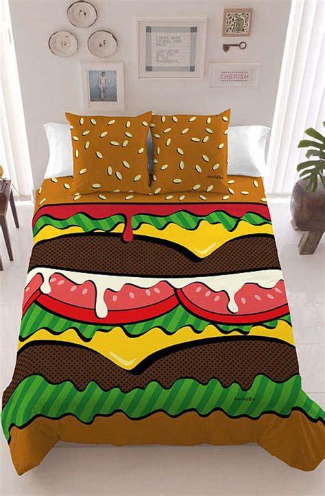 burger bed fast food inspired bed sheets burger bedding