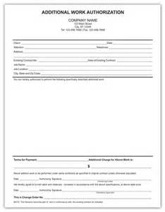additional work authorization template electrical forms