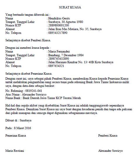 contoh surat kuasa untuk pengambilan uang di bank wisata