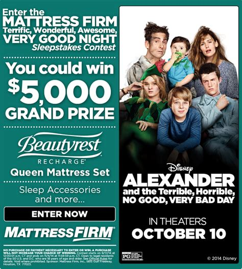 Mattress Giveaway 2014 - disney s very bad day mattress firm sleepstakes pillow giveaway verybaddayevent
