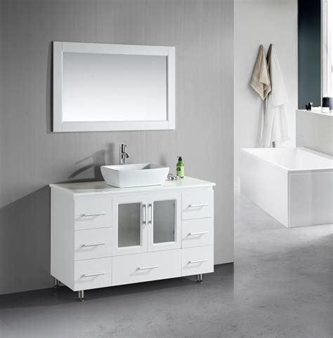 White Vanities For Bathroom Stanton 48 Inch White Bathroom Vanity Porcelain Vessel Sink
