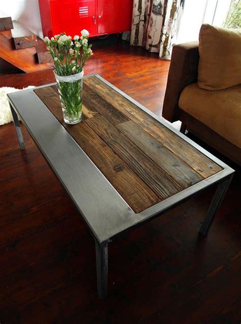 Table Basse Vintage 741 by Handmade Rustic Reclaimed Wood Steel Coffee Table