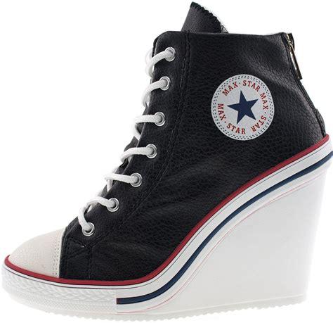 black high heel sneakers maxstar womens 777 back zipper pu high wedge heel sneakers