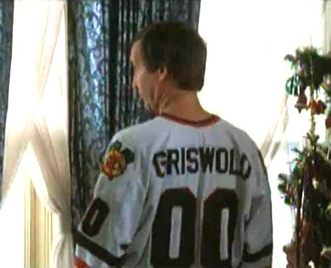 christmas vacation  clark griswold  white hockey jersey close