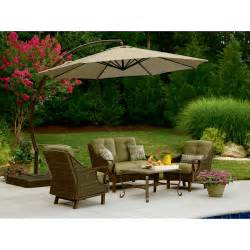 Patio Furniture With Umbrella Garden Oasis Offset Umbrella 10ft Outdoor Living Patio Furniture Patio Umbrellas Bases