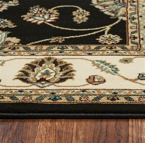 10 X 10 Area Rugs Chateau Traditional Border Area Rug In Black Ivory 7 10 Quot X 10 10 Quot
