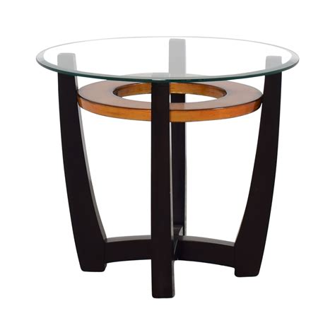 round glass top accent table 72 off raymour flanigan raymour flanigan round