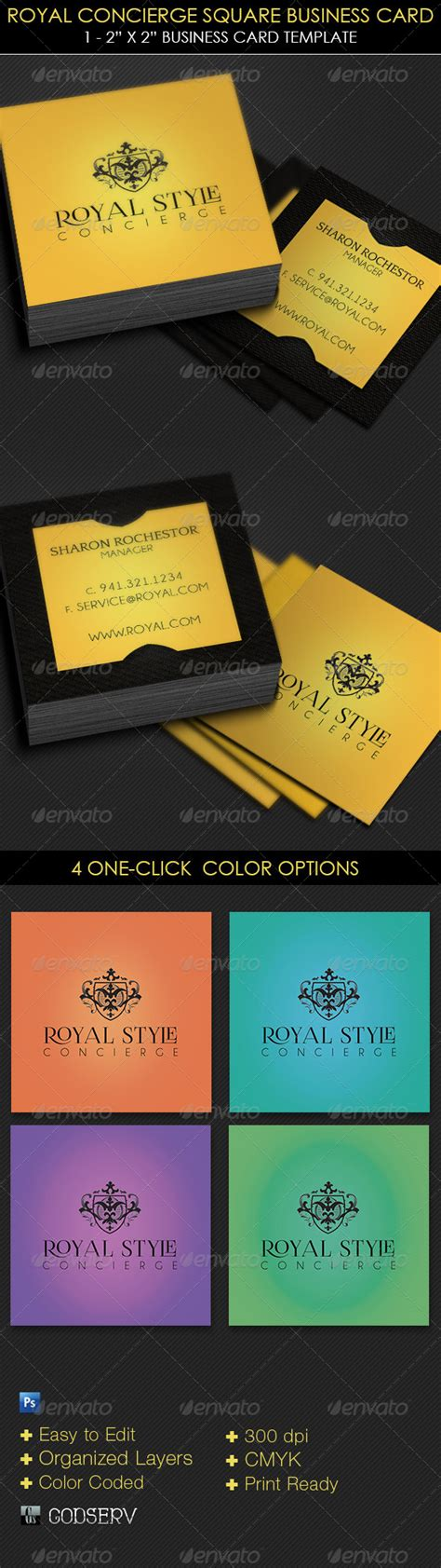 Royal Concierge Square Business Card Template By Godserv On Deviantart Square Business Card Template Free