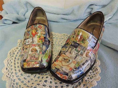 Decoupage Shoes With Paper - refashion co op pretty decoupage shoes
