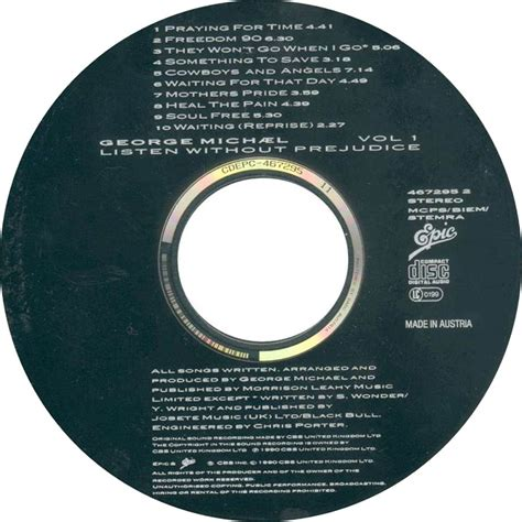 Cd George Michael Listen Without Prejudice car 225 tula cd de george michael listen without prejudice volume 1 portada