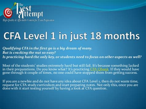 Cfa Level 1 Vs Mba by Cfa Level 1 In Just 18 Months