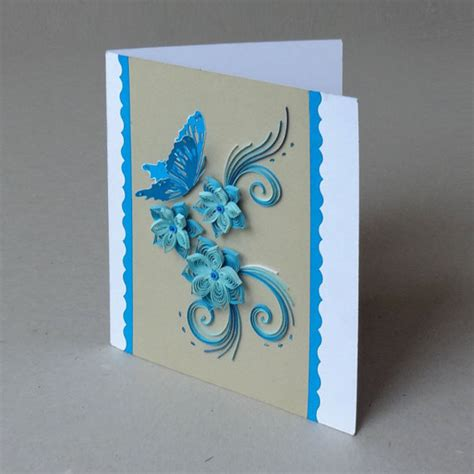 How To Make Paper Quilling Greeting Cards - 3d cards quilled paper handmade greeting card in blue