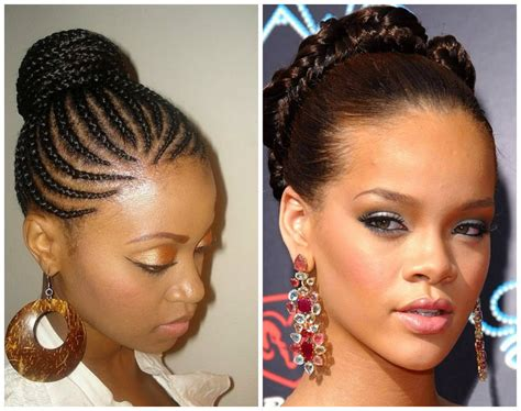 twisted bun hairstyle on american hot african american stone age inspired braided hairstyle